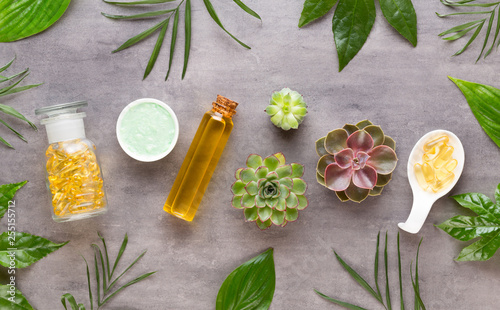 Leinwanddruck Bild Spa background with hand made bio cosmetic and  cactus composition, flat lay, space for a text - Image.
