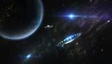 Fototapeta Space - UFO und Satellit im Orbit einse Planeten © Papafox