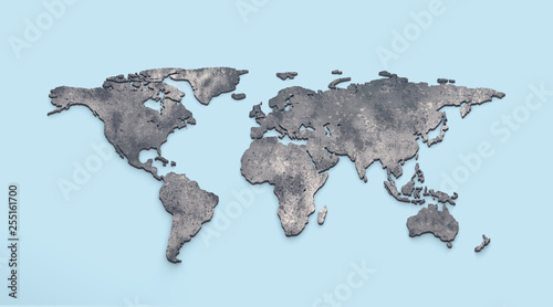 Leinwanddruck Bild 3d world map metal on blue background