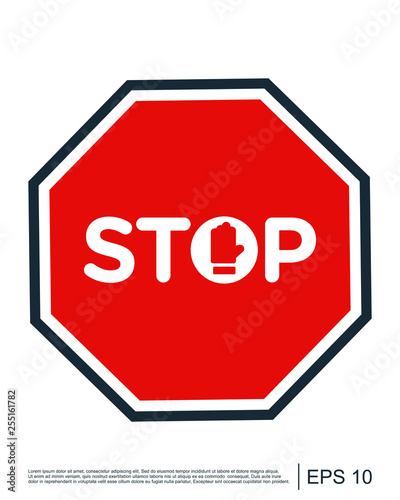 Stop sign icon with text flat icon for apps and website