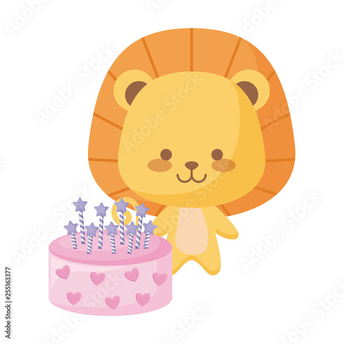 cute lion animal with cake birthday