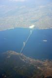 View of the Akashi Kaikyo Bridge, a suspension bridge over the Akashi Strait linking the city of Kobe on the Japanese mainland of Honshu to Iwaya on Awaji Island