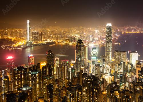 obraz PCV ヴィクトリア・ピークから眺める香港 夜景