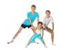 Leinwanddruck Bild - Portrait of two young boys brothers and little sister exercising isolated on white background