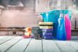 Leinwanddruck Bild - Spring cleaning and kitchen interior