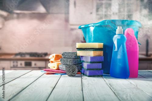Leinwanddruck Bild Spring cleaning and kitchen interior
