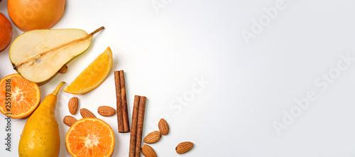 group of raw orange fruit on white background - 255178316