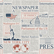 Vector seamless pattern with american newspapers columns. Text on newspaper page is unreadable. US newspaper with blue and red text, repeating newspaper background with headlines and illustrations.