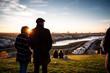 Leinwanddruck Bild - Personen im Gegenlicht am Phoenix-See Dortmund