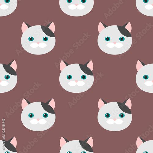 fototapeta na ścianę Cat. flat feline head. seamless pattern, vector background.