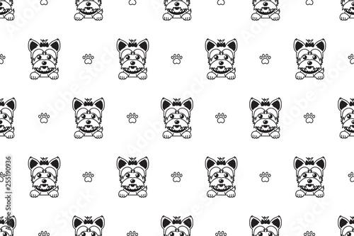 obraz PCV Cartoon vector character yorkshire terrier dog seamless pattern for design.