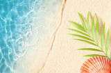 Summer background with green palm leaf and shells. Beach texture. Copy space. Top view