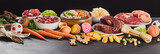 Panorama banner with assorted fresh foods for barf