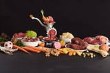 Colorful still life of fresh raw food for barf