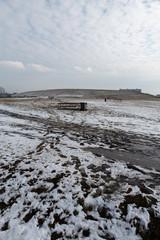Winter landscape scene with Ushakova Kepka in the background in Spring, March © dissx
