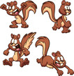 Cartoon squirrel with different expressions and poses clip art. Vector illustration with simple gradients. Each on a separate layer.
