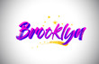 Brooklyn Purple Violet Word Text with Handwritten Vibrant Colors and Stars Confetti Vector.