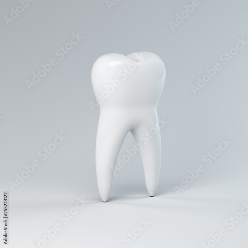 3d dental illustration of a tooth, on a gray background. Render - 255223122
