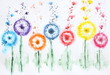 Watercolor background flowers dandelions. Floral background watercolor painting for wall art decor. Botanical painting. Watercolor picture multicolored flowers. - 255238172