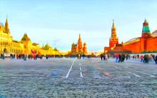 "Постер, картина, фотообои ""Watercolor. Wide view of the Red Square."""