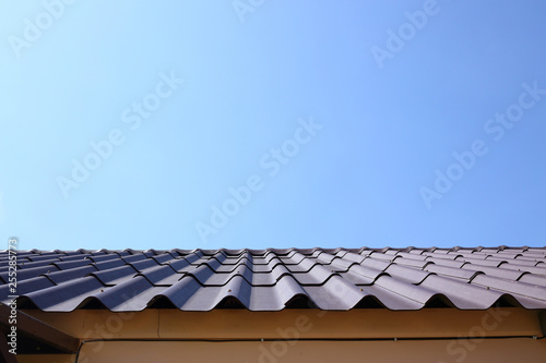 black roof tile top on residential house