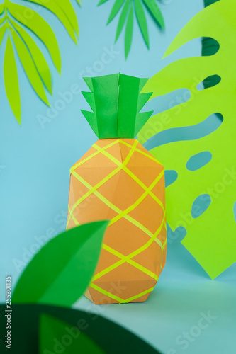exotic fruits made of paper on blue background - 255301135