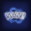 WOW lettering neon sign