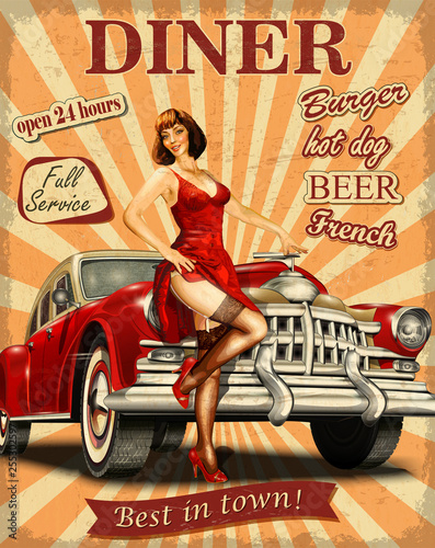 American Diner vintage poster with retro car and pin-up girl. - 255302597
