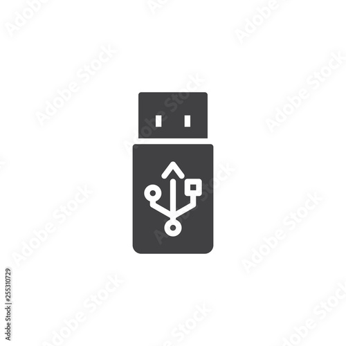 USB Flash Drive Stick vector icon. filled flat sign for mobile concept and web design. Information transfer and storage device glyph icon. Symbol, logo illustration. Pixel perfect vector graphics