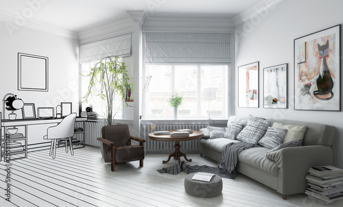 Möbliertes Apartment (Design) - 3d Visualizierung