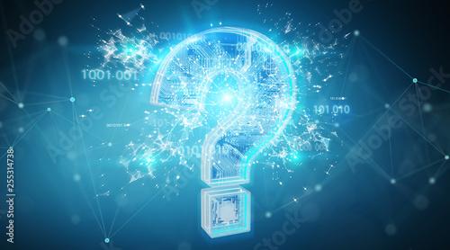 Blue digital question marks background 3D rendering