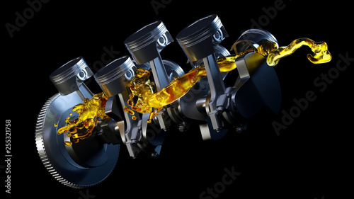 3d illustration of car engine with lubricant oil on repairing. Concept of lubricate motor oil - 255321758