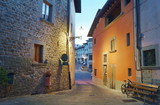 Typical street of Pelago at dawn, Tuscany, Italy