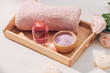 Spa and aromatherapy. Rose flower and essential oil.