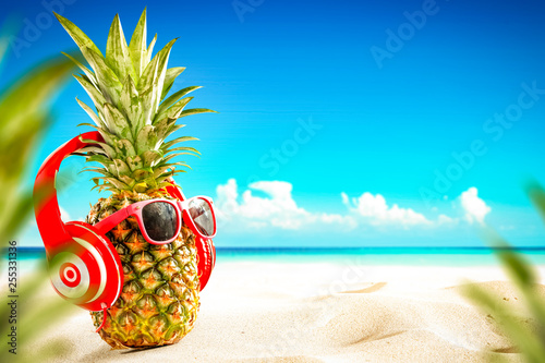 Fresh fruit on beach and summer time  - 255331336