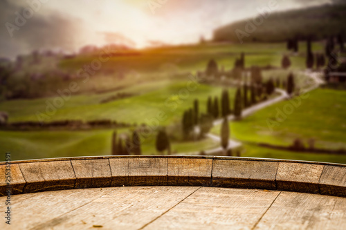 Desk of free space and italy landscape