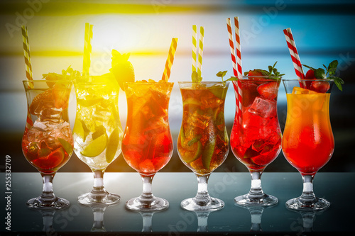 summer drink on desk and free space for your decoration  - 255332709