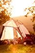 Leinwanddruck Bild - Tired couple lying in tent