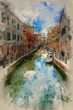 Beautiful view along long canal in Venice Italy