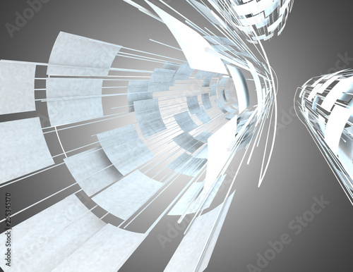 3d abstract background space construction. 3d illustration