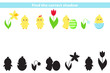 Educational game for preschool kids. Find the right shadow. Vector kawaii chick with spring flowers and Easter egg.