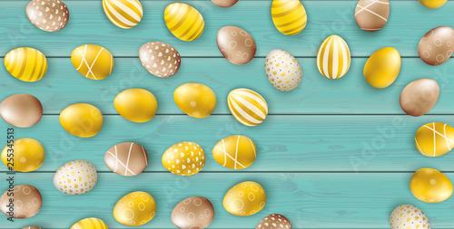 Noble Golden Easter Eggs Sun Wooden Turquoise Header - 255345513
