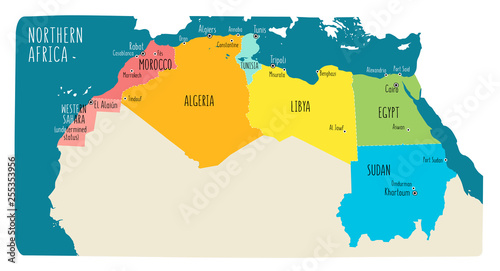 Colorful hand drawn political map of Northern Africa with English ...