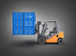 Leinwanddruck Bild - Forklift handling the cargo shipping container side view isolated on black gradient background 3d render