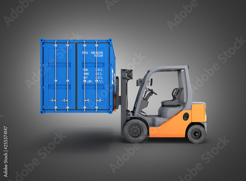 Leinwanddruck Bild Forklift handling the cargo shipping container side view isolated on black gradient background 3d render