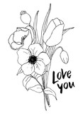 Vector Love you card with greenery and anemone bouquet. Hand painted flowers and berries with eucalyptus leaves and branch isolated on white background for design, print or fabric. - 255383509