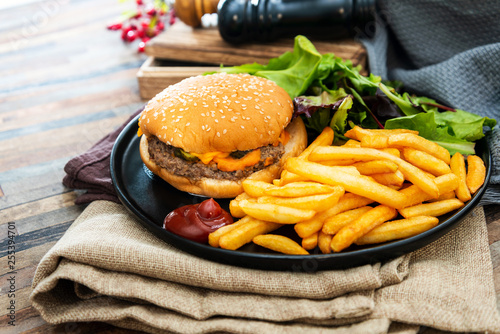 Cheese burger - American cheese burger with Golden French fries - 255394701