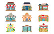 Store Facade Restaurant Pharmacy Shop Cafe Book Supermarket Front View Flat Icon