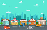 Shop Store Small Business Landscape in Town Urban with Tree Sky Illustration