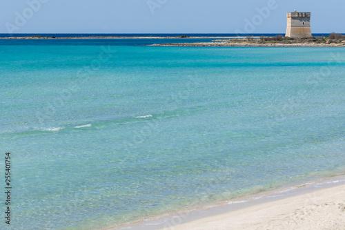 Leinwandbild Motiv Spiaggia di porto cesareo con torre